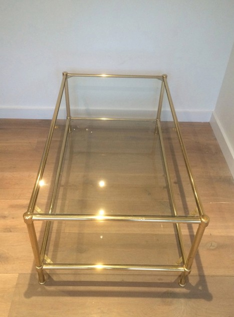 Brass coffee table with round feet. Circa 1960 -barrois-antiques-50's-10545_main_636385249048174538.jpg