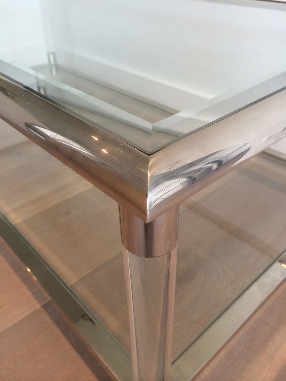 Large Chrome And Lucite Coffee Table Decorative Collective