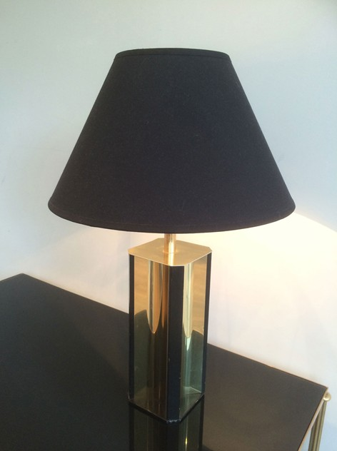 Black Wood Lamp with Convex Gild Metal Base. 1970'-barrois-antiques-50's-11587 02.05.42_main_636450572450595489.jpg