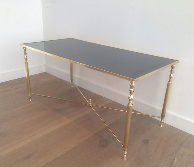 Brass Coffee Table With Original Blue Mirror Top-barrois-antiques-50's-12715_main_636319006479002176.jpg
