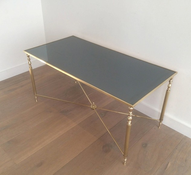 Brass Coffee Table With Original Blue Mirror Top-barrois-antiques-50's-12721_main_636319009362028990.jpg
