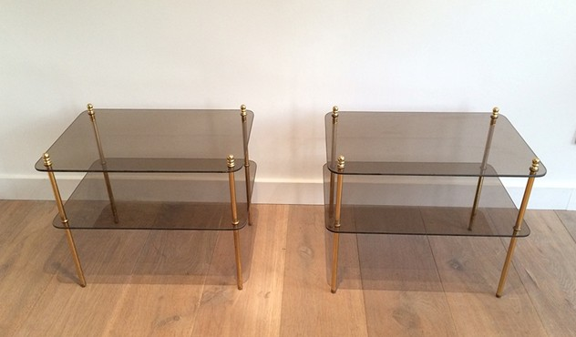 Pair of brass & smoked glass side tables. 1970's-barrois-antiques-50's-14483_main_636425459931642073.jpg