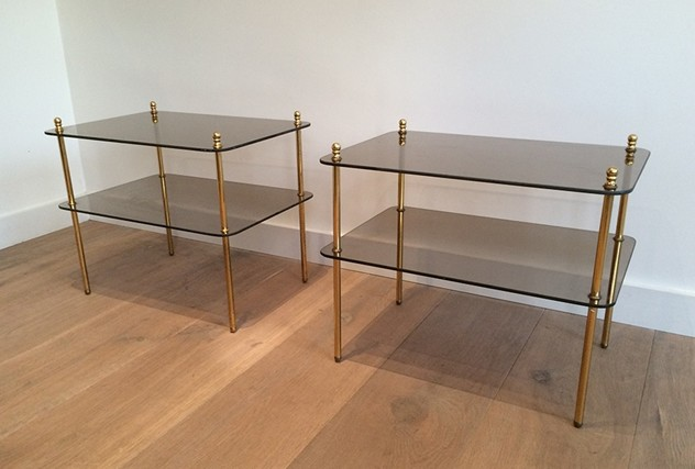 Pair of brass & smoked glass side tables. 1970's-barrois-antiques-50's-14485_main_636425460119943729.jpg