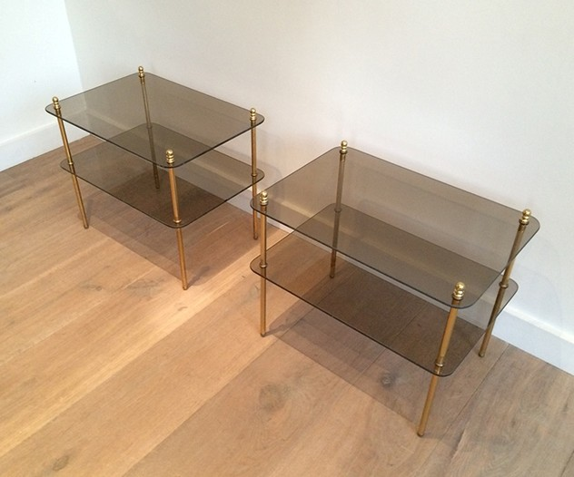 Pair of brass & smoked glass side tables. 1970's-barrois-antiques-50's-14493_main_636425460556610121.jpg