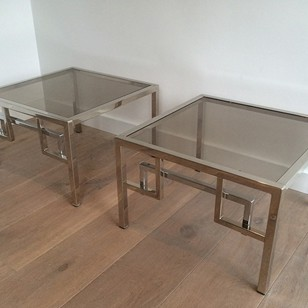 Pair of design chrome side tables. Circa 1970
