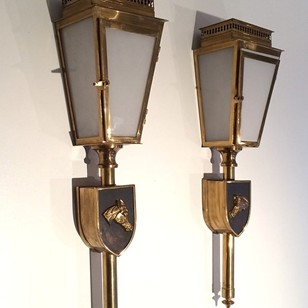 Pair Wall Lanterns with Horse Figure. 1970's