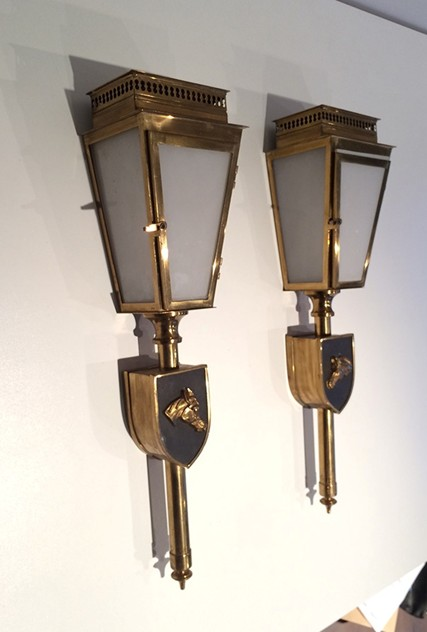 Pair Wall Lanterns with Horse Figure. 1970's-barrois-antiques-50's-16181_main_636432335156935689.jpg