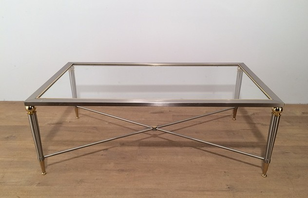 Large Brushed Steel and Brass Coffee Table-barrois-antiques-50's-16984_main_636413511628878197.jpg