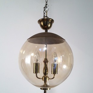 Smoked Glass and Brass Fixture c1970
