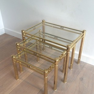 Set of 3 Brass Nesting Tables. Circa 1970