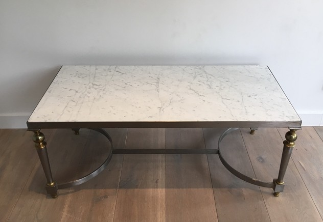 Very nice brushed steel and brass coffee table-barrois-antiques-50's-23601_main_636437647975964833.JPG