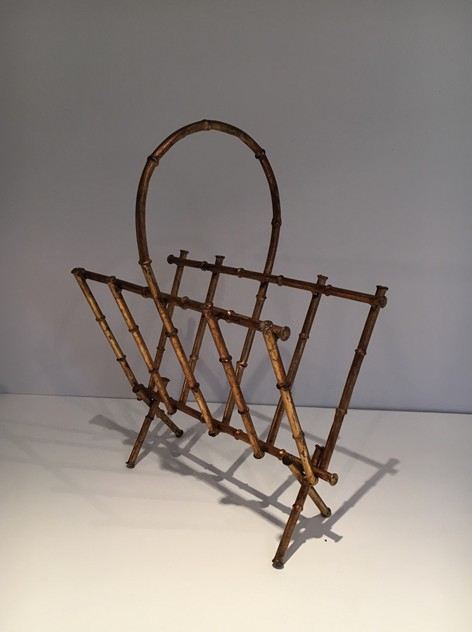 Attr to Maison Bagués. Faux-bamboo Magazine Rack-barrois-antiques-50's-23767_main_636437644865633337.jpg