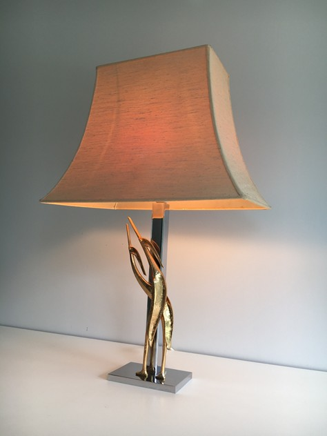 Chrome & Bronze Sculptural Table Lamp with Birds-barrois-antiques-50's-24775_main_636464266479171309.JPG