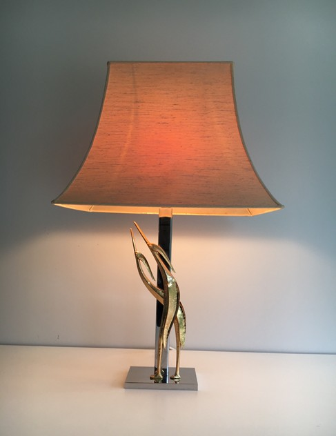 Chrome & Bronze Sculptural Table Lamp with Birds-barrois-antiques-50's-24791_main_636464267286356701.JPG