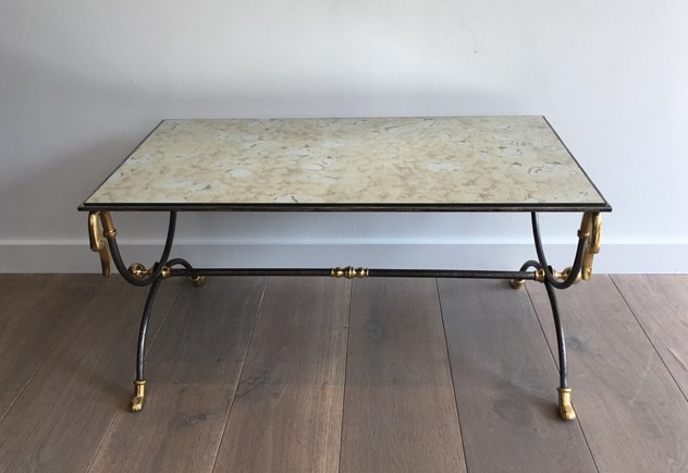 Brushed Steel & Brass Coffee Table with Swanheads-barrois-antiques-50's-25470_main_636464279819569345.JPG