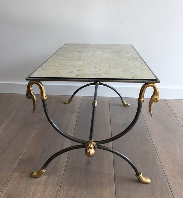 Brushed Steel & Brass Coffee Table with Swanheads-barrois-antiques-50's-25473_main_636464280823636833.JPG