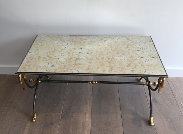 Brushed Steel & Brass Coffee Table with Swanheads-barrois-antiques-50's-25480_main_636464282982163521.JPG