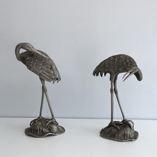 Pair of Silvered Herons att to Maison Bagues