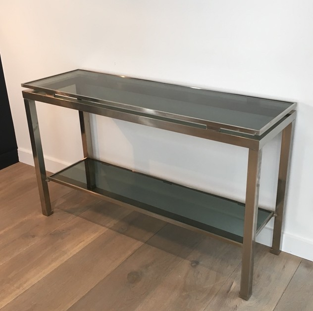 Beautiful Brushed Steel Console by Guy Lefèvre-barrois-antiques-50's-25801_main_636486751876965300.JPG