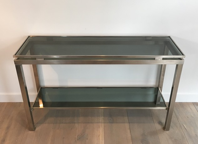 Beautiful Brushed Steel Console by Guy Lefèvre-barrois-antiques-50's-25802_main_636486751962925708.JPG