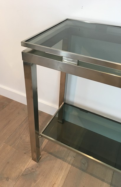 Beautiful Brushed Steel Console by Guy Lefèvre-barrois-antiques-50's-25803_main_636486752056842524.JPG