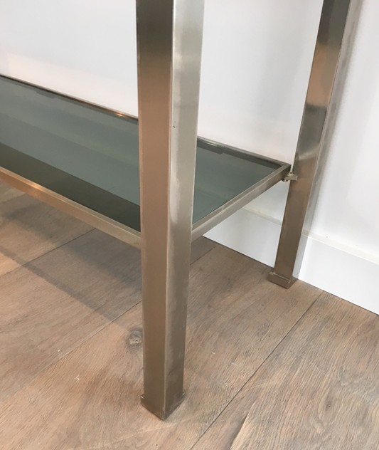Beautiful Brushed Steel Console by Guy Lefèvre-barrois-antiques-50's-25806_main_636486752638440348.JPG