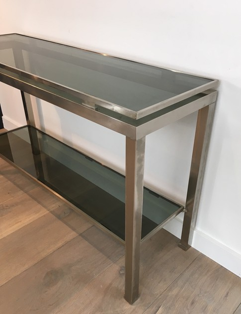 Beautiful Brushed Steel Console by Guy Lefèvre-barrois-antiques-50's-25807_main_636486752739689540.JPG