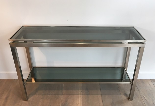 Beautiful Brushed Steel Console by Guy Lefèvre-barrois-antiques-50's-25808_main_636486752849363164.JPG