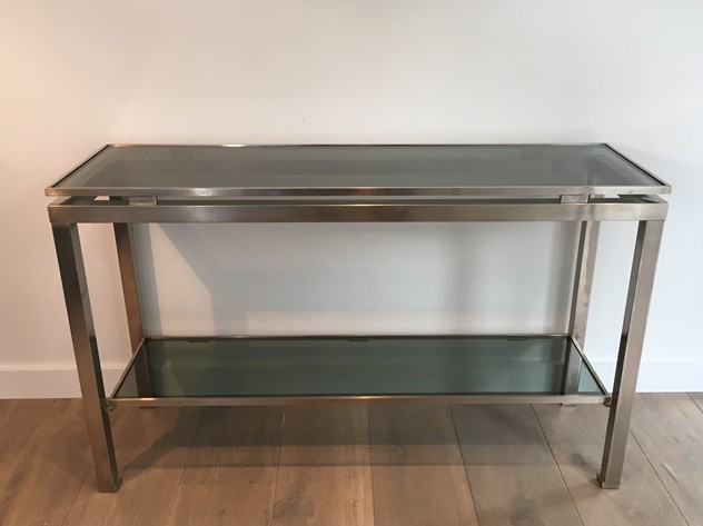 Beautiful Brushed Steel Console by Guy Lefèvre-barrois-antiques-50's-25809_main_636486752966057148.JPG