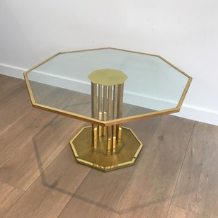 Octagonal Brass & Glass Coffee Table