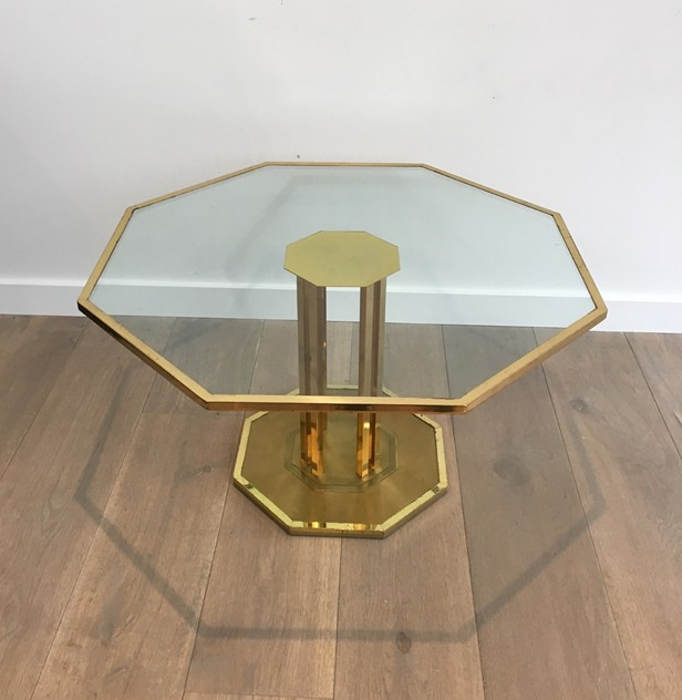 Octogonal Brass and Glass Design Coffee Table. -barrois-antiques-50's-26152_main_636548964806992277.JPG