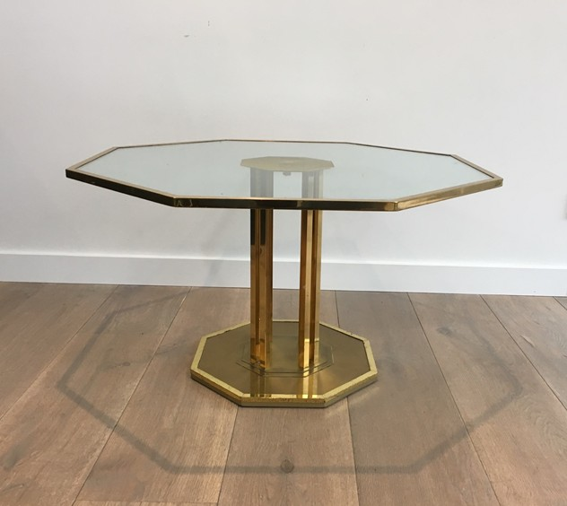 Octogonal Brass and Glass Design Coffee Table. -barrois-antiques-50's-26153_main_636548964938975045.JPG