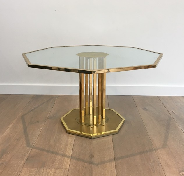 Octogonal Brass and Glass Design Coffee Table. -barrois-antiques-50's-26154_main_636548965045996533.JPG