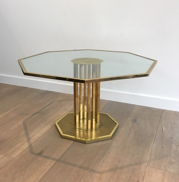 Octogonal Brass and Glass Design Coffee Table. -barrois-antiques-50's-26159_main_636548965680325061.JPG