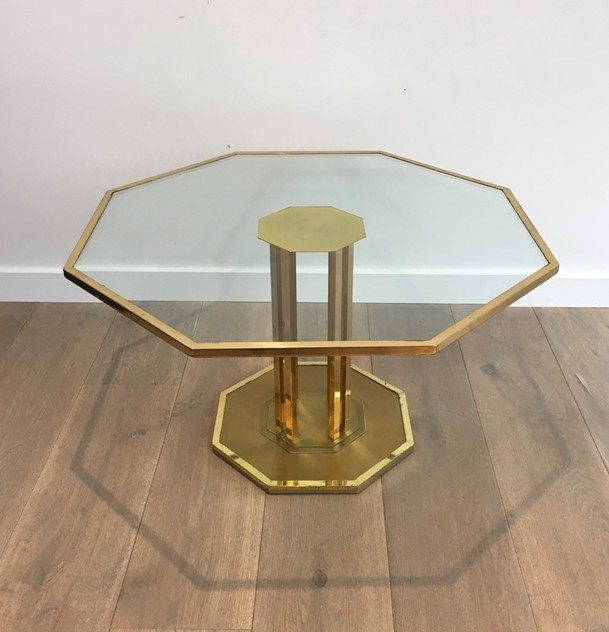 Octogonal Brass and Glass Design Coffee Table. -barrois-antiques-50's-26160_main_636548965816832061.JPG