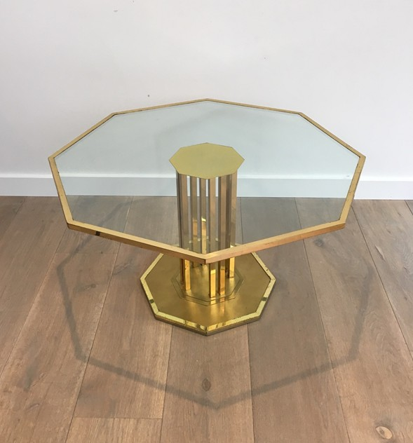 Octogonal Brass and Glass Design Coffee Table. -barrois-antiques-50's-26162_main_636548965958487325.JPG