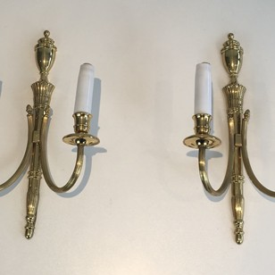 Pair of Neoclassical Brass Sconces.