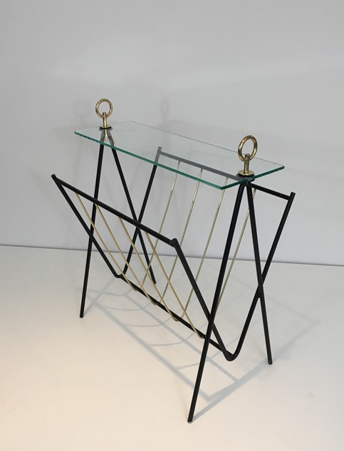 Black Lacquered Metal and brass Magazine Rack-barrois-antiques-50's-26434_main_636565475774686853.JPG
