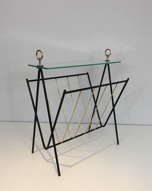 Black Lacquered Metal and brass Magazine Rack-barrois-antiques-50's-26435_main_636565474688715165.JPG