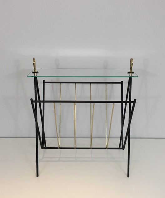 Black Lacquered Metal and brass Magazine Rack-barrois-antiques-50's-26436_main_636565474781071901.JPG