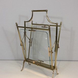 Brass & Glass Neoclassical Magazine Rack