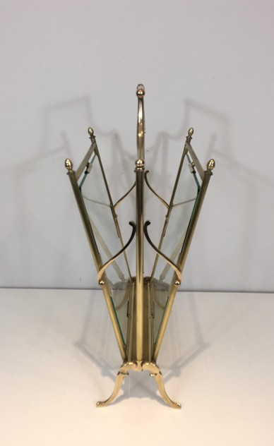Brass & Glass Neoclassical Magazine Rack-barrois-antiques-50's-26446_main_636565479548821333.JPG