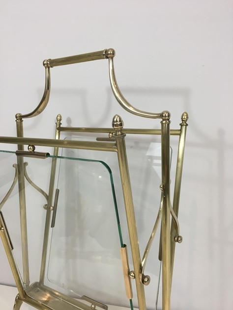 Brass & Glass Neoclassical Magazine Rack-barrois-antiques-50's-26448_main_636565483692679267.JPG