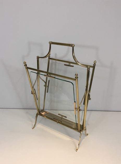 Brass & Glass Neoclassical Magazine Rack-barrois-antiques-50's-26458_main_636565492777171744.JPG