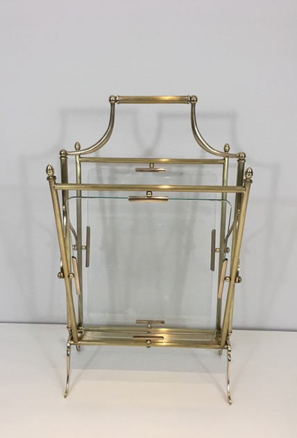 Brass & Glass Neoclassical Magazine Rack-barrois-antiques-50's-26462_main_636565488213469720.JPG
