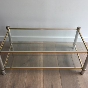Pierre Vandel Chromed and Gild Coffee Table