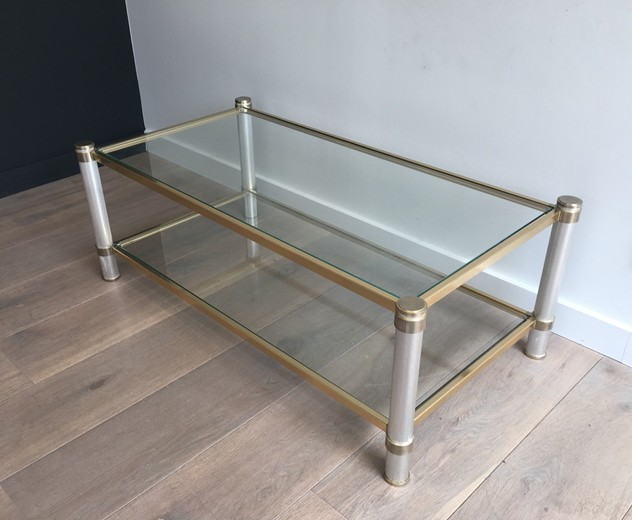 Pierre Vandel Chromed and Gild Coffee Table-barrois-antiques-50's-26497_main_636567090734556295.JPG
