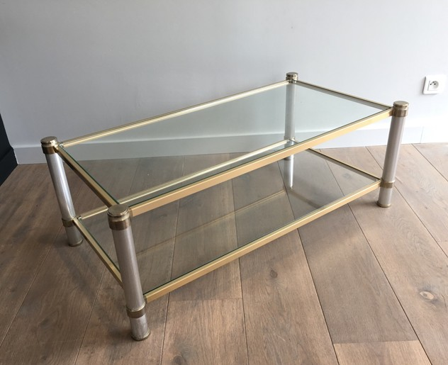 Pierre Vandel Chromed and Gild Coffee Table-barrois-antiques-50's-26508_main_636567092090109807.JPG