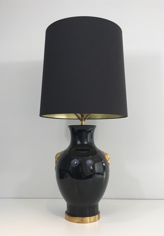 Black and Gold Ceramic Table Lamp-barrois-antiques-50's-27330-main-636608190343733363.JPG