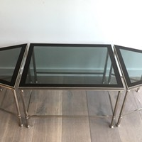Rare Nickeled Tripartie Coffee Table. Circa 1940